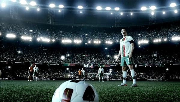 Ronaldo prepares for a free kick